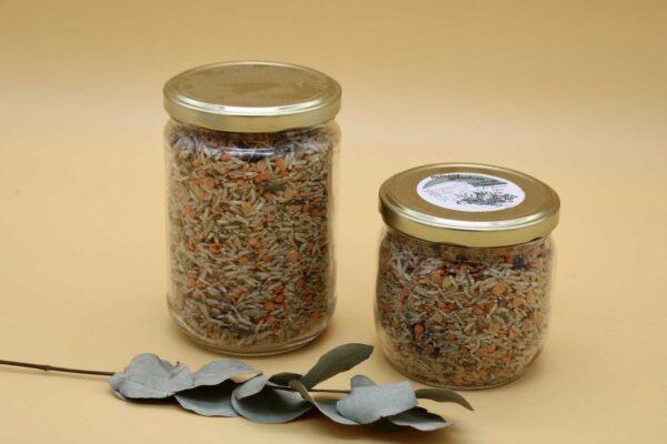 Mélange riz forestier et lentilles