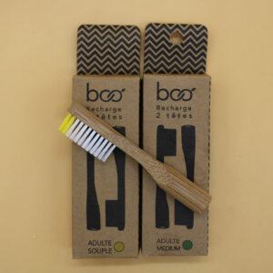 Pack de deux têtes interchangeables pour brosse à dents en bambou